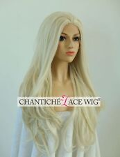 Women's Synthetic Hair Front Lace Wigs White Blonde Long Wavy Heat Resistant UK