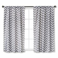 "Circo Grey Chevron Light Blocking Window Curtain Panels (63""X42"")"