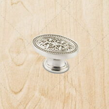 Kitchen Cabinet Oval Knobs ku12 Satin Nickel pulls 1-3/4""