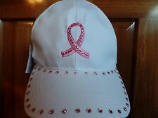 Breast Cancer Ribbon Pink Chemo Hat  Bling White Biker Motorcycle