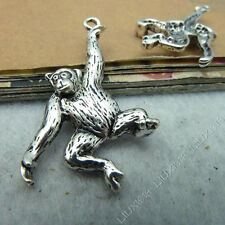 10pc Tibetan Silver Monkey Orangutan Animal Charms Pendant Jewellery Making B531