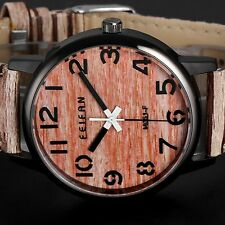 Vintage Womens Wood Grain Leather Lady Quartz Analog Fashion Dress Wrist Watch