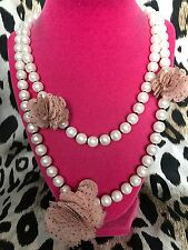 Betsey Johnson Vintage Glass Pearl Strand Pink Polka Dot Rose Flower Necklace