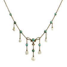 Victorian 14K Gold Turquoise Pearl Festoon Necklace Bippart, Griscom & Osborn