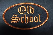 Old School iron on patch Oval QUALITY embroidery Biker Orange Harley Vest