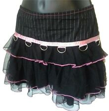 SERIOUS LA Ruffle Pinstripe Mini Skirt Goth Tutu Pink Black D Ring Hot Topic S