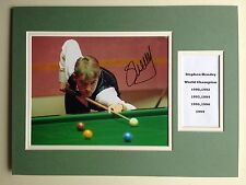 "SNOOKER STEPHEN HENDRY SIGNED 16""X12"" DOUBLE MOUNTED PICTURE DISPLAY"