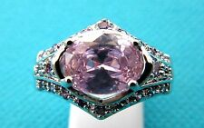 925 Silver Ring With Natural Pink Topaz And Amethyst Size Q 1/2 US 8  (rg2125)