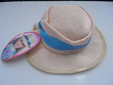 MY LIFE STRAW FEDORA HAT WITH BLUE BAND FITS AMERICAN GIRL DOLL CLOTHES
