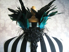 VELVET & TURQUOISE COQUE FEATHER  CHOKER  VICTORIAN/GOTH/BURLESQUE/BRIDAL