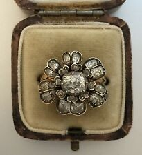 A Stunning Georgian 4ct Old Cut Diamonds Flower Cluster Ring Circa 1800's