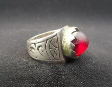 Morocco old Tribal Berber Silver Ring with red stone