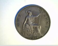 1897 Great Britian Large Penny, Very High Grade Circulated Copper Coin, (UK-29)