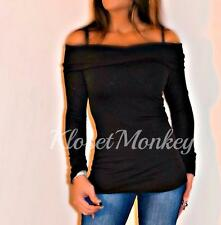 SEXY BLACK MARILYN OFF THE SHOULDER FOLDOVER COLLAR L/S SWEATER KNIT TOP M