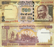 INDIA 2016 500 RS Tactile Mark Novel Numbering No Inset Paper Money Note UNC NEW