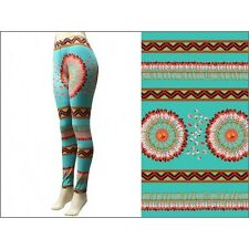 Turquoise and Multi Colored Tribal Print with Feathers Leggings S/M