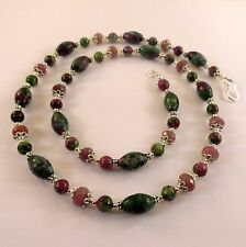 JFTS, Ruby, Ruby Zoisite, Bead, 3 Pc Set, Tibetan Silver, Sterling Silver, 24""