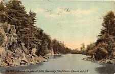 RIFT ENTRANCE TO LAKE OF ISLES BOUNDARY LINE USA & CANADA NEW YORK POSTCARD 1911
