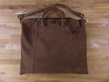 auth BOTTEGA VENETA brown suede large holdall bag with intrecciato details - NWT