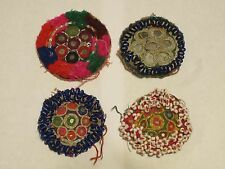 4 Embroidered & Shisha Mirror Medallions, Tribal Belly Dance