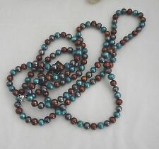 "NEW HONORA RINGED PEARL NECKLACE  54"" DENIM BRIGHT TEAL/CHOCOLATE/PEACOCK 8MM"
