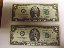 (10) Sequential Notes $2 Two Dollar Bill, Uncirculated US, 2003 A Chicago
