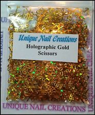 Solvent Resistant Holographic Gold Scissor Spangle~ Nail Art~ USA