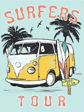 VW VAN SURF SHACK ART PAINTING TOUR PRINT 700mm X 500mm