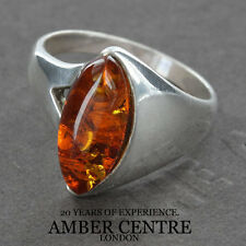 Navette Shaped Rich Orange Baltic Amber In 925 Sterling Silver WR270- RRP £35...