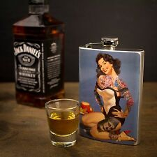 Vintage Pinup Girl Ladies Hip Flask - Handcrafted Whiskey Flasks Made in USA