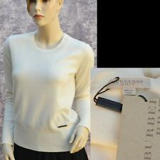BURBERRY BRIT New sz M Cashmere Authentic Designer White Womens Top Sweater