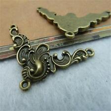 10pcs Antique Bronze & Silver Art Flower Charm Connector 28*40mm Pendants P421