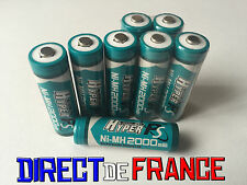 8 PILES ACCUS RECHARGEABLE NI-MH 2000mAh 1.2V AA LR06 LR6 R6 R06 MIGNON HYPER