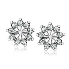 925 STERLING SILVER SNOW FLAKE CRYSTAL CZ STONE PAVED APPLE SHAPE EARRINGS E809