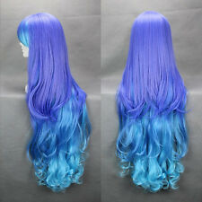 Lolita Women Long Curly Wavy ombre Wig Blue+purple Hair Harajuku Anime Cosplay