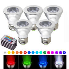 5x E27 Color Changing 3W RGB Bulb LED Spotlight Lamp 85-265V + IR Remote Control