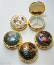 "ONE (1) Cloisonne Enamel Round Hinged Pill Box 2"" x 3/4"" with Plastic Insert"