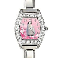 Emperor Penguin Baby CZ Ladies Stainless Steel Italian Charms Wrist Watch BJ1164