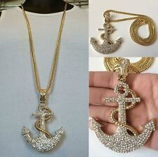 "MENS ICED OUT HIP HOP GOLD CZ LARGE ANCHOR PENDANT W/ 36"" FRANCO CHAIN NECKLACE"