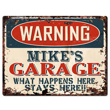 PPFG0105 WARNING MIKE'S GARAGE Tin Chic Sign Home man cave Decor Funny Gift
