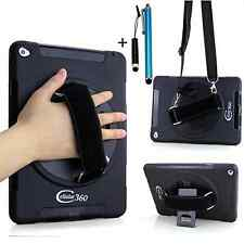 Apple iPad Air 2 Case Shock Proof Hand Grip Shoulder Strap Kickstand Black Cover