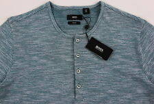 Men's HUGO BOSS Green White Henley Knit Shirt XLarge XL NWT NEW $115+ Slim Fit