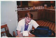 Vintage 80s PHOTO Young Teen Guy Talking On Telephone In Kitchen
