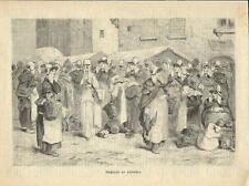 Stampa antica ANVERSA ANTWERPEN Mercato di Natale Belgium 1886 Old antique print