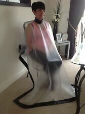 HAIRDRESSING CAPE TRANSPARENT PVC WITH BLACK PVC TRIM XL NEW