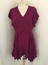 Stunning Balenciaga Silk Plum Ruffle Dress Size 38