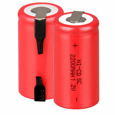 Popular Red 2PCS Rechargeable Battery Sub C SC 1.2V 2200mAh Ni-Cd Batteries &Tap