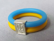 Rubber Ukrainian Ring With SS Tryzub, Blue and Yellow, Size 6.5, Unisex