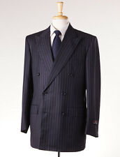 NWT $4495 D'AVENZA Charcoal Black-Sky Blue Shadow Stripe Wool-Silk Suit 40 R