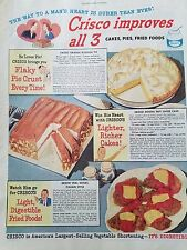 1946 Crisco Flaky Pie Crust Mocha Nut Layer Cake Recipe Veil Cutlet Food Ad